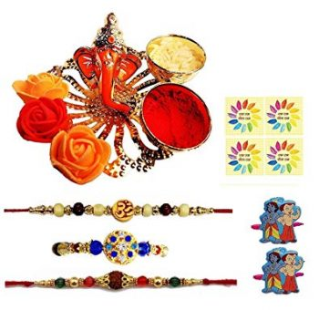 Complete Indian Rakhi Thali Set Rakhi Platter Thread Bracelet for Bhaiya, Bhabhi on Indian Rakhi Rakshabandhan Festival_1