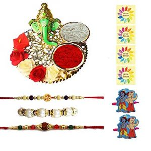 Complete Indian Rakhi Thali Set Rakhi Platter Thread Bracelet For Bhaiya, Bhabhi On Indian Rakhi Rakshabandhan Festival 2