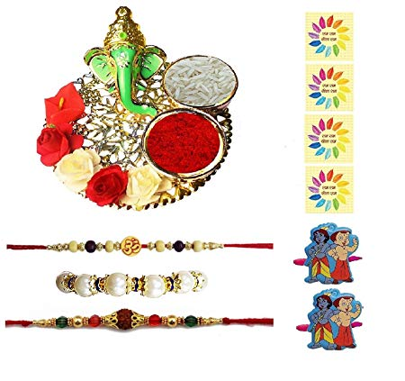 Complete Indian Rakhi Thali Set Rakhi Platter Thread Bracelet For Bhaiya, Bhabhi On Indian Rakhi Rakshabandhan Festival 2