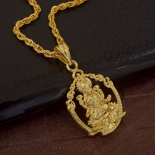 Memoir Gold Plated Brass, Goddess Lakshmi, Small And Sober, Stylish Laxmi Pendant Hindu God, Men Women