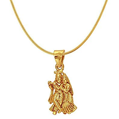 Memoir Gold Plated Brass, Radha Krishna, Small And Sober, Stylish Pendant Hindu?