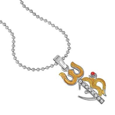 Memoir Silver Plated, Golden Enamel, Om And Trishul Pendant Hindu God, Temple Jewellery Necklace Latest 3
