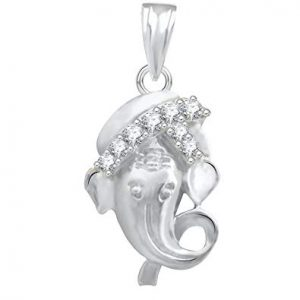 The Marketvilla 925 Sterling Silver Ganesha Ganpati Locket In CZ God Pendant For Man & Women Pendent
