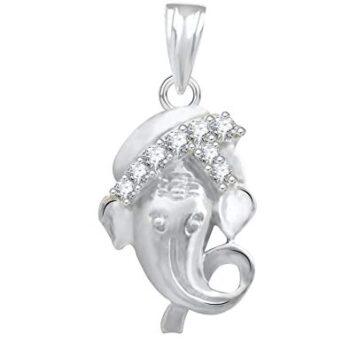 The Marketvilla 925 Sterling Silver Ganesha Ganpati Locket in CZ God Pendant for Man & Women Pendent_3