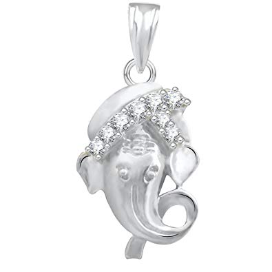 The Marketvilla 925 Sterling Silver Ganesha Ganpati Locket In CZ God Pendant For Man & Women Pendent